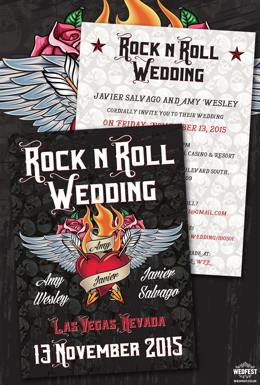 Rock n Roll Wedding Invite, Las Vegas
