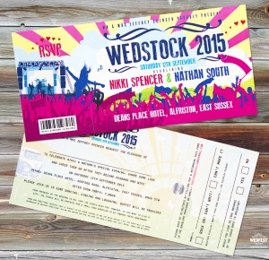 wedstock festival wedding invitation
