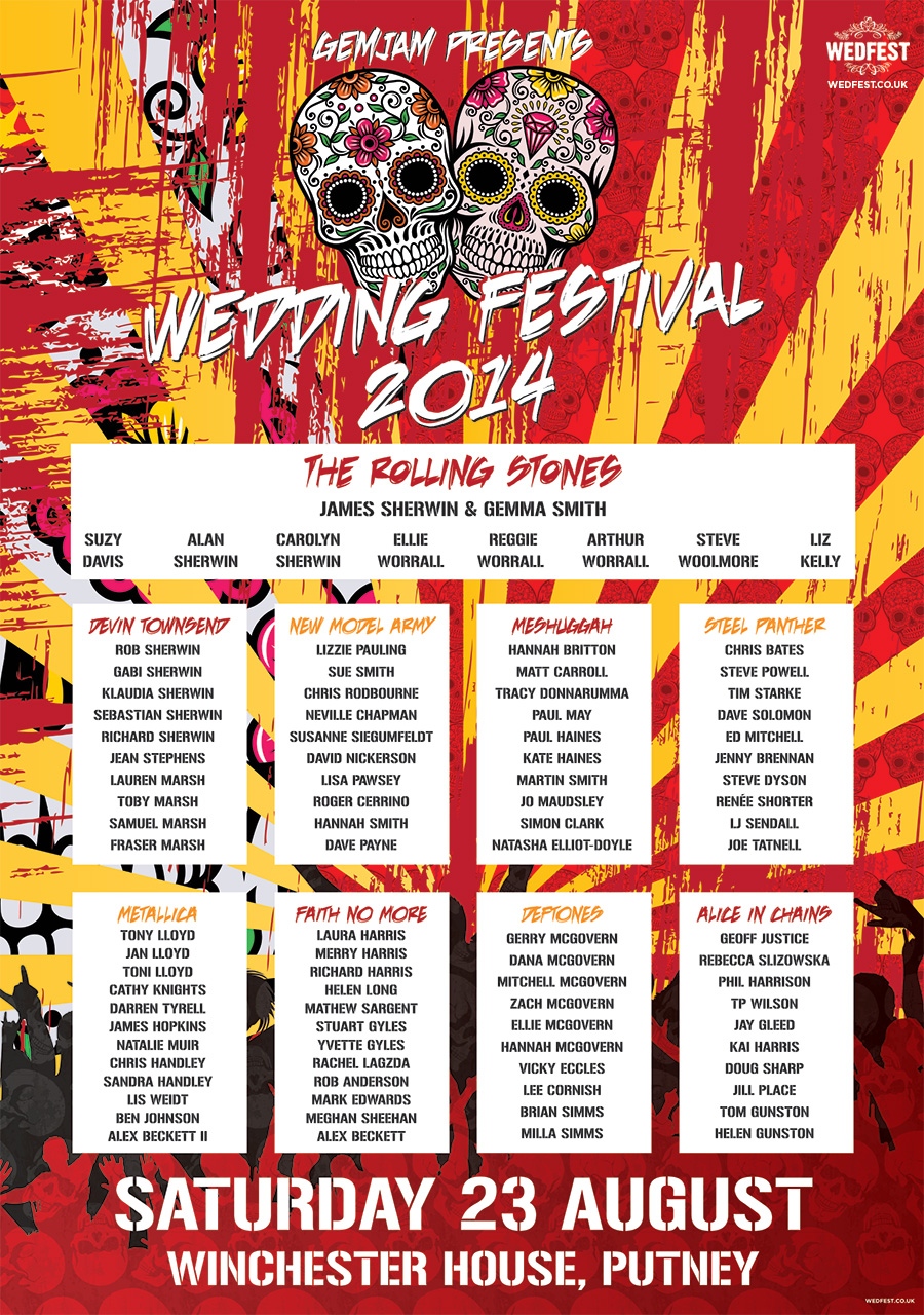 wedding seating plan rock festival wedding