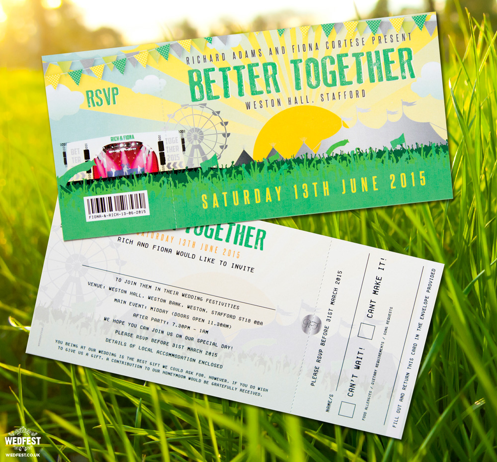better together festival wedding invitation
