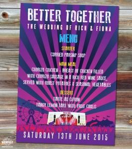 better together festival wedding menu