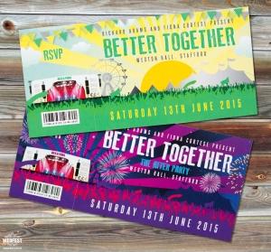 better together wedding festival invites