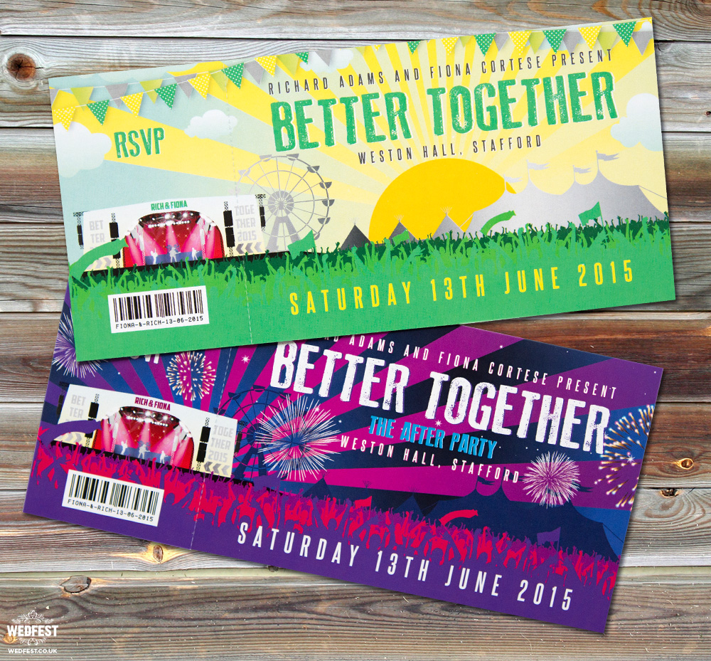 better together wedding festival invites