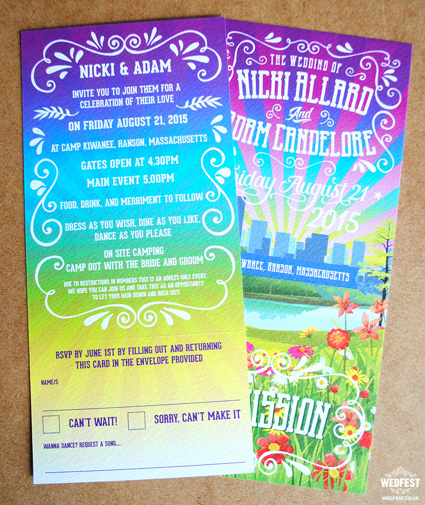 festival wedding ticket invite