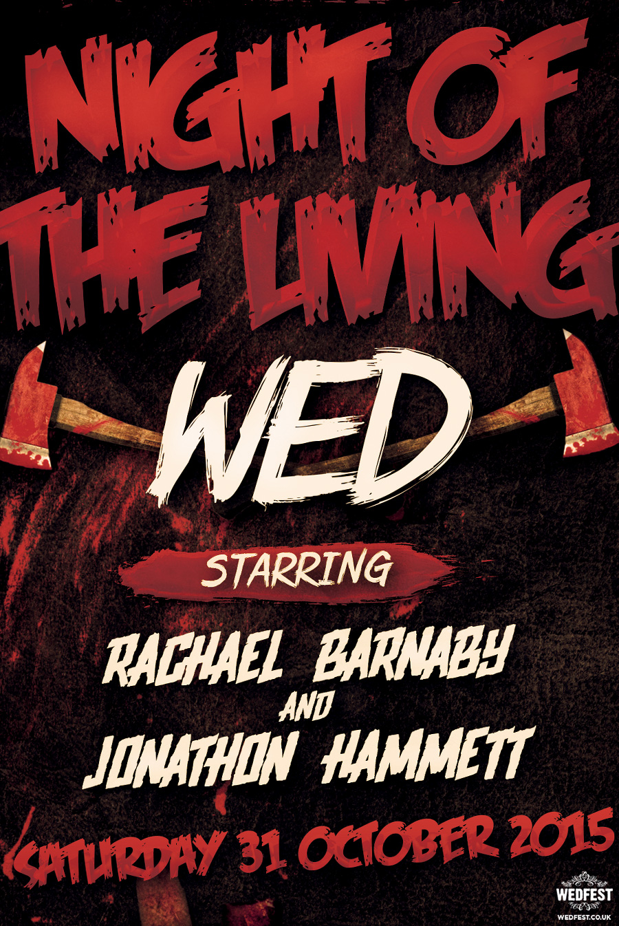 night of the living wed wedding invites
