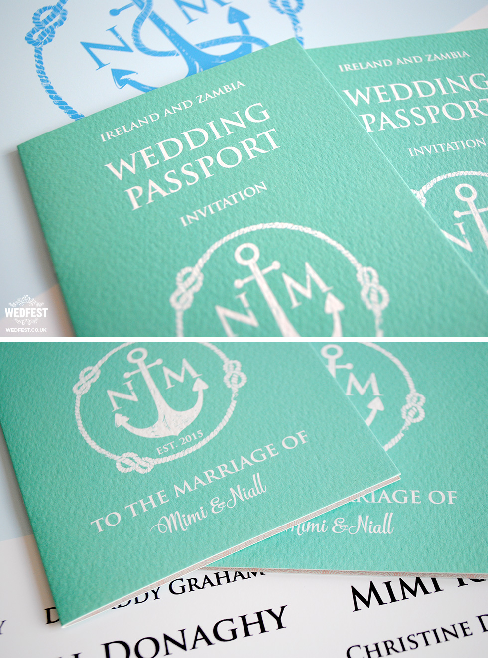 passport themed wedding invitation