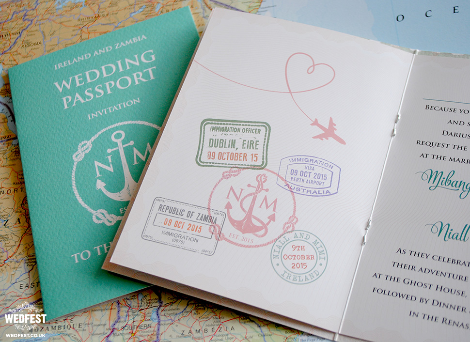 passport themed wedding invite