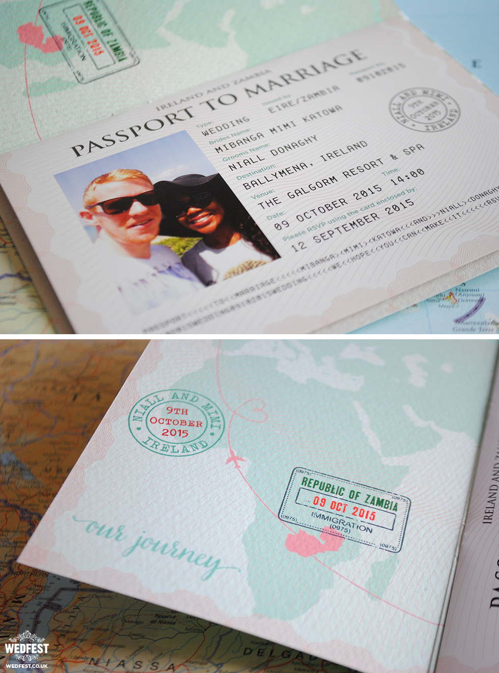 passport travel theme wedding stationery