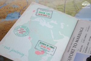 passport travel themed wedding invitation