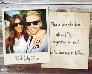 polaroid wedding save the date
