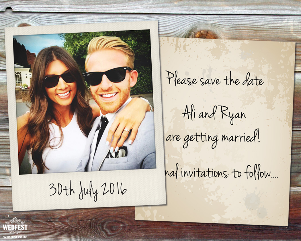 polaroid wedding save the date