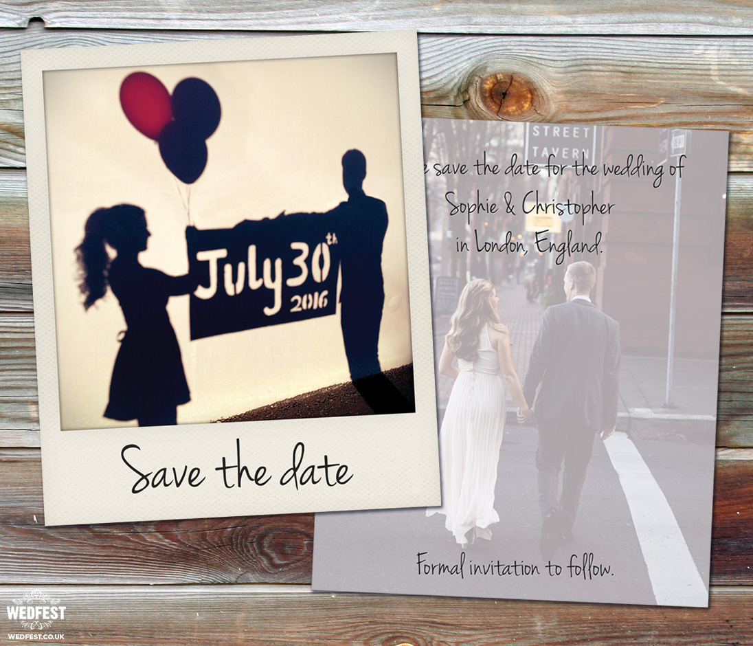 polaroid wedding save the dates