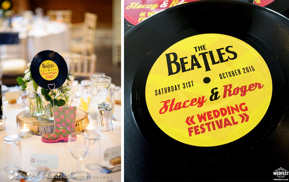 the beatles vinyl record wedding stationery