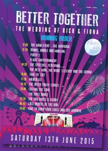 wedding running order poster