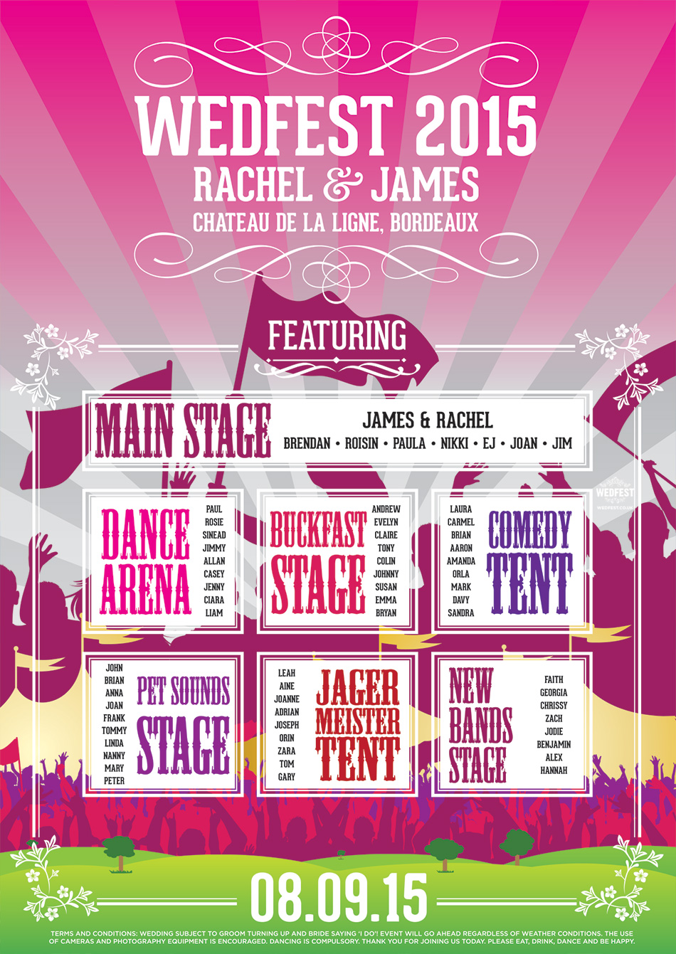 Wedfest Festival Tents & Stages Wedding Seating Plan