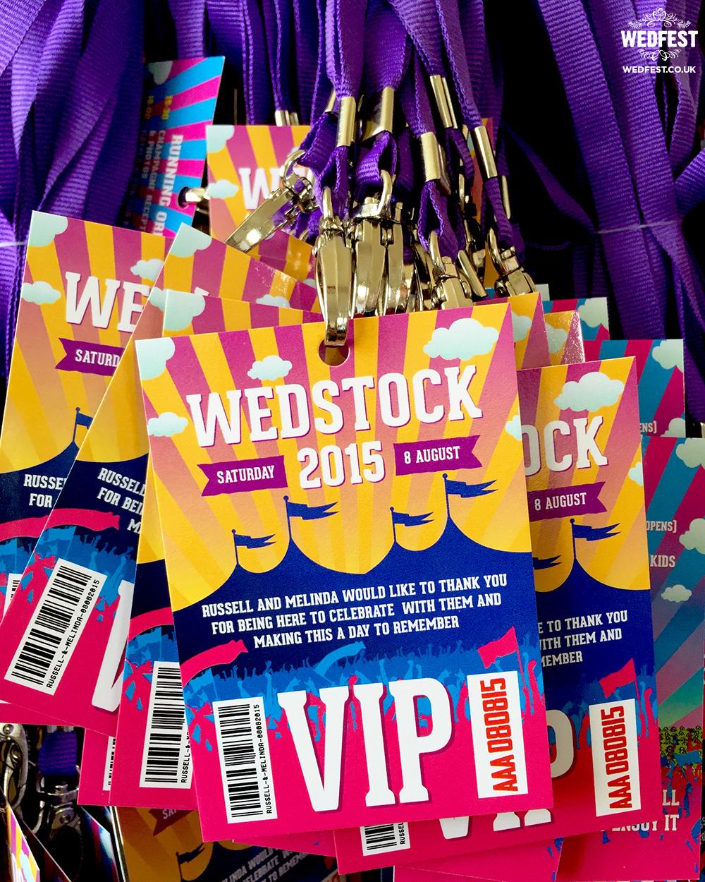 wedstock festival wedding lanyard programme