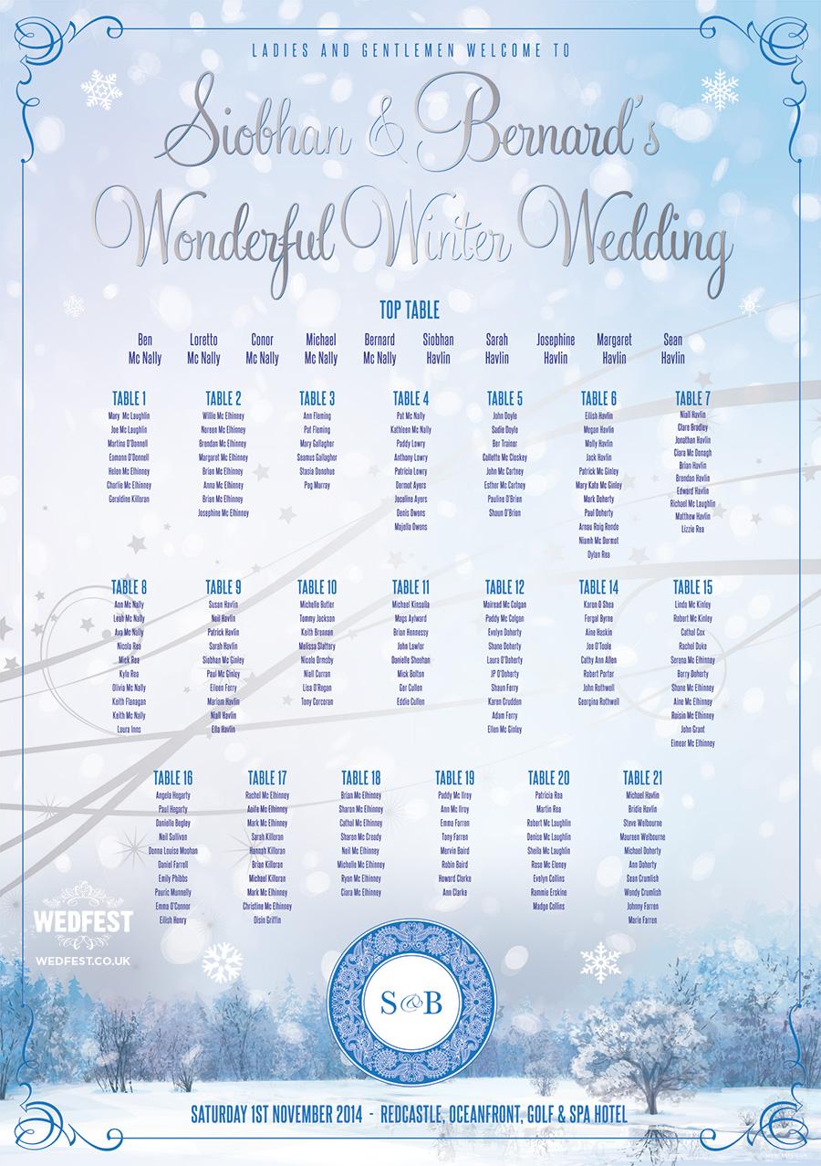 Table Plans For Christmas Weddings Wedfest