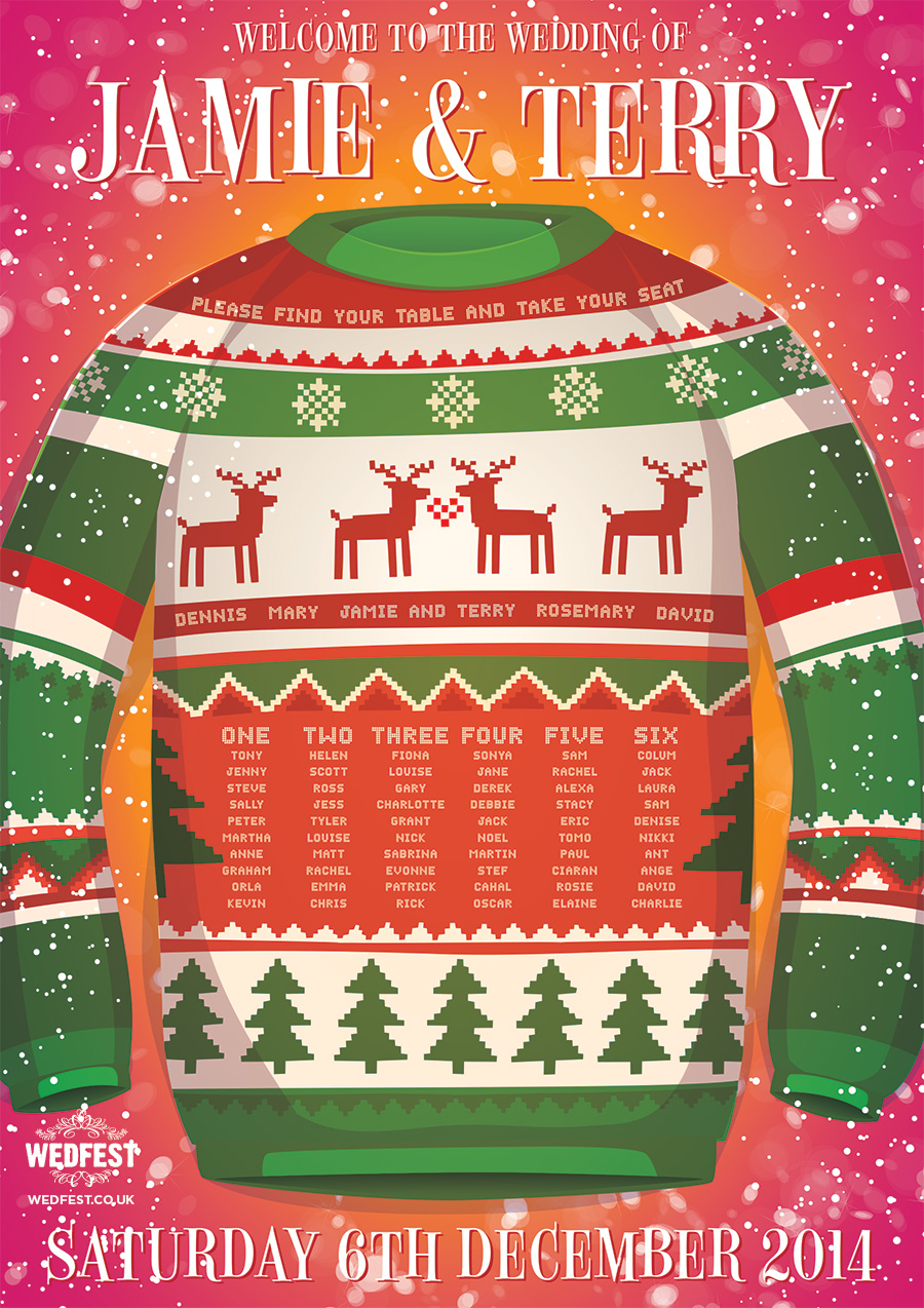 christmas jumper wedding seating chart