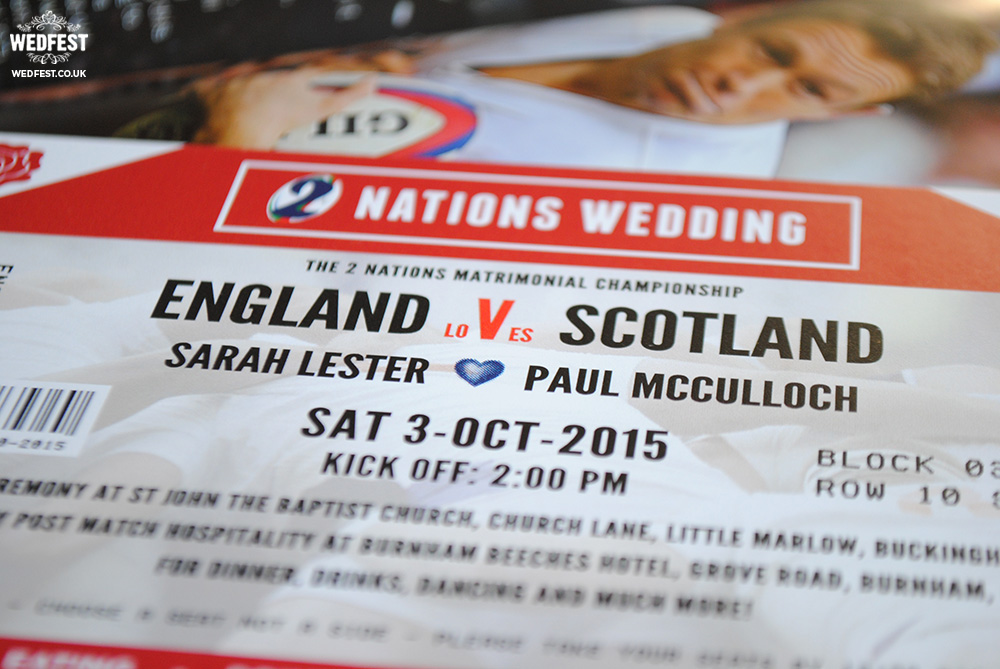 England vs Scotland Rugby Ticket Wedding Invites