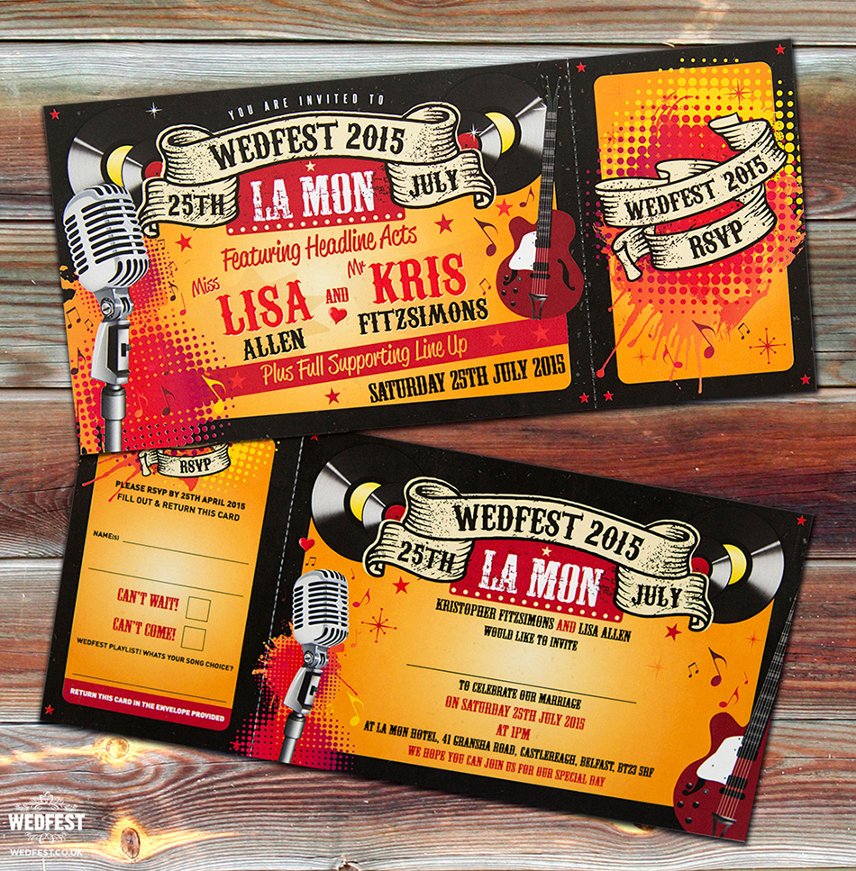 rock n roll wedding invitations