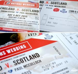 rugby themed wedding invitation