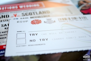 rugby wedding ticket invite