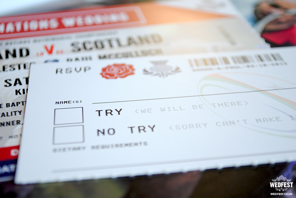 rugby wedding ticket invite