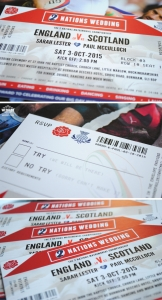 scotland v england rugby wedding invitation