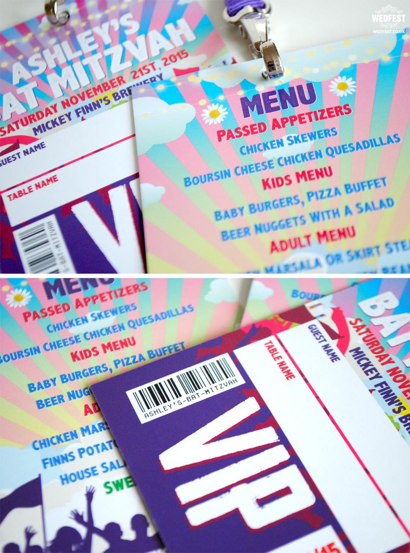 bat mitzvah vip pass favours & menus