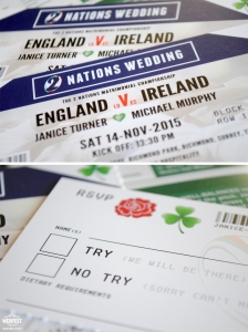 England Ireland rugby wedding invites