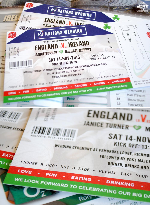 Ireland vs England rugby ticket wedding invitation