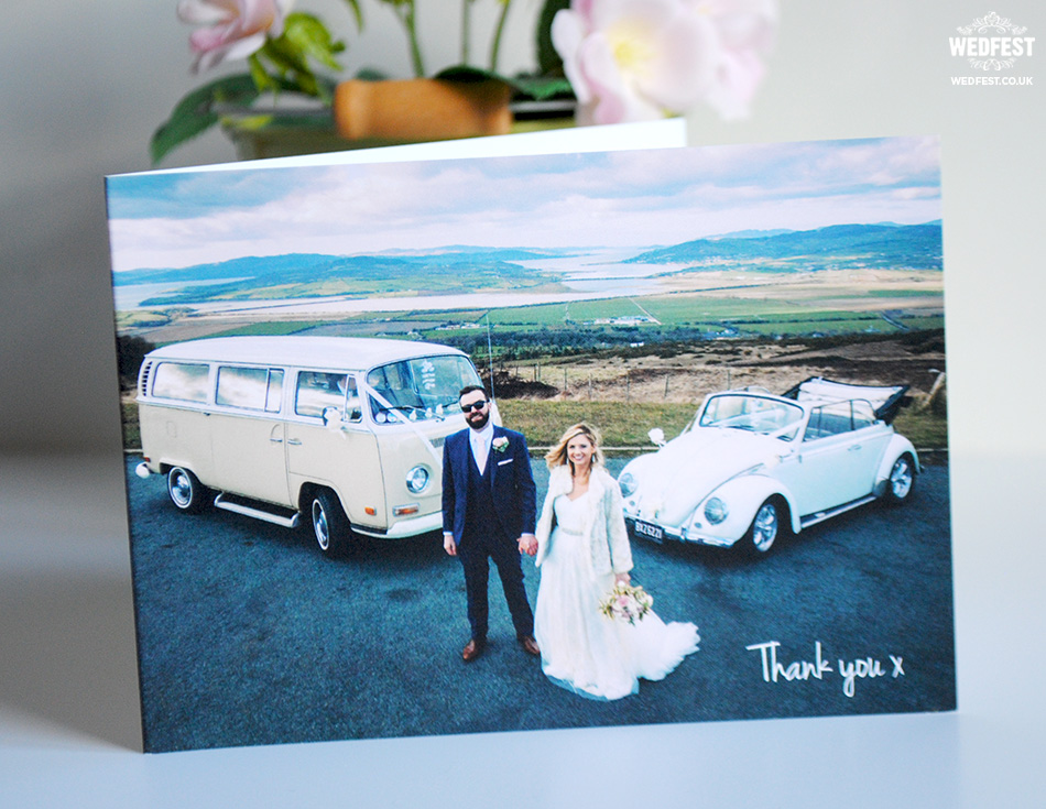 landscape folded wedding thank you card