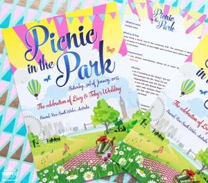 London Picnic Themed Wedding Invitations