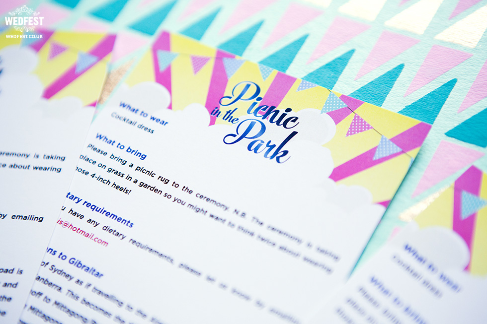 picnic themed wedding stationery