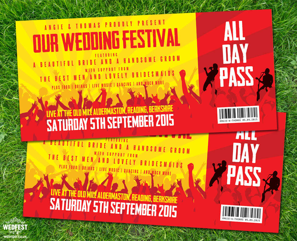 concert festival ticket wedding invitation