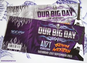 heavy metal concert ticket wedding invites