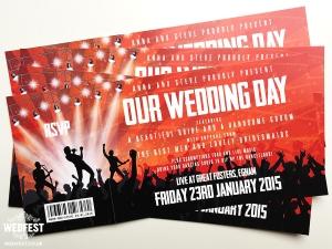 live music ticket wedding invitations