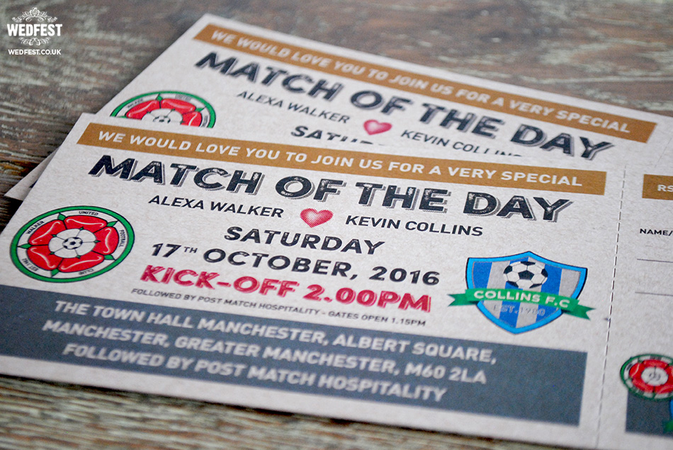 match of the day football wedding invitation