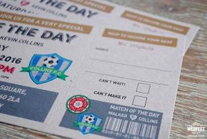 personalised football ticket wedding invite