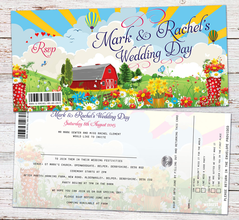barn festival wedding invitation