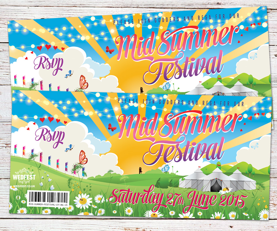 summer festival boho party invites