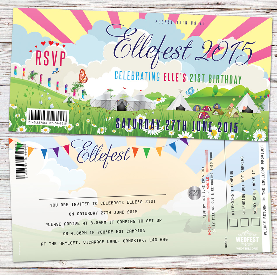 festival ticket birthday invitation