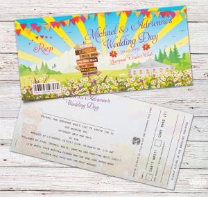 festival ticket wedding invite liverpool cricket club