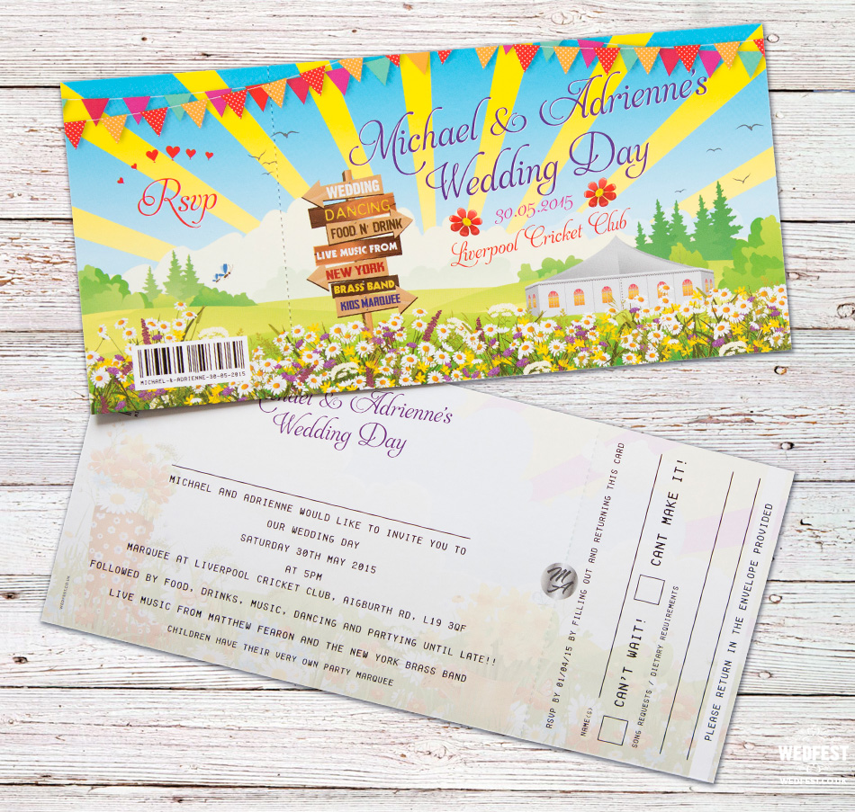 festival ticket wedding invite liverpool cricket club