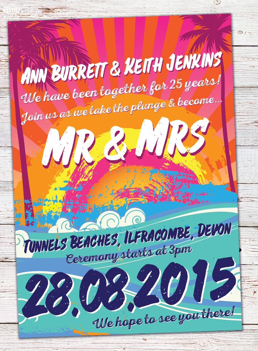mr and mrs wedding invite tunnels beaches devon