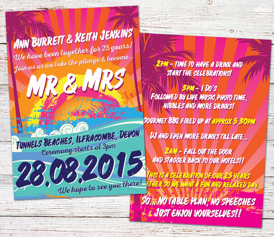 summer surf wedding invitation tunnels beaches devon