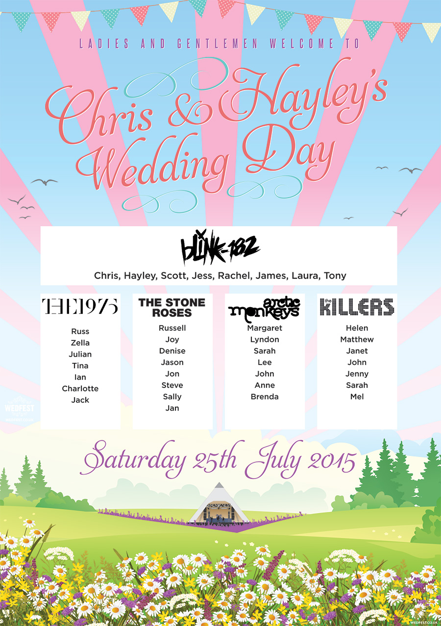 pastel boho festival wedding table plan