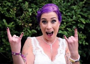 purple hair rock n roll bride