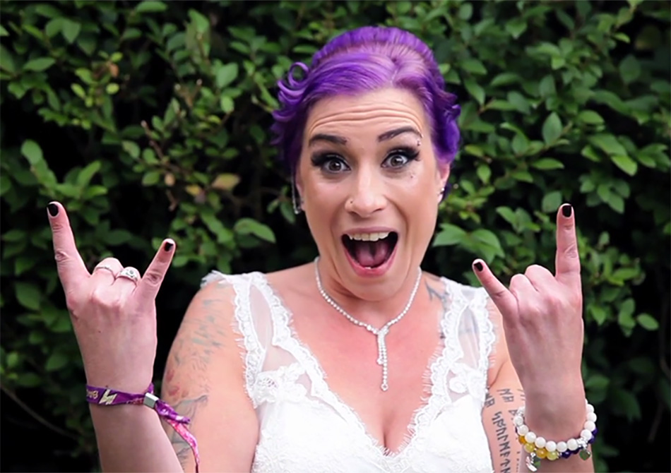purple hair rock n roll bride