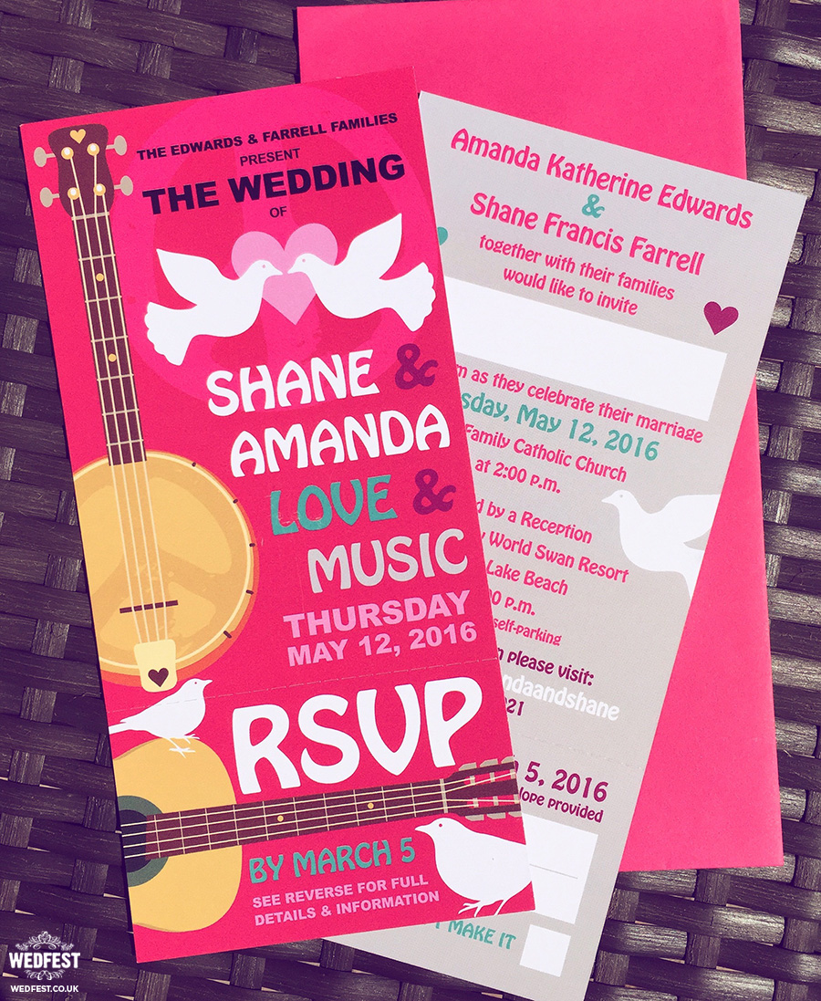 woodstock wedstock wedding invites